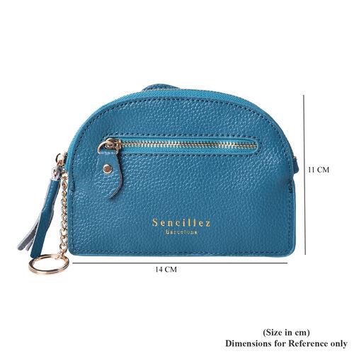 SENCILLEZ 100% Genuine Leather RFID Wallet (14x11cm) with Tassel - Teal