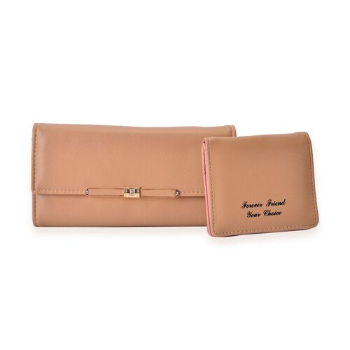 Set of 2 - Farfalla Beige Colour Wallet (Size 19x9x2.5 and 10x8.5 Cm)