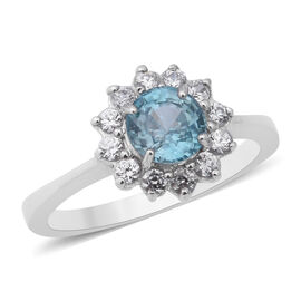 Ratnakiri Blue Zircon and Cambodian White Zircon Floral Halo Ring in Rhodium Plated Silver