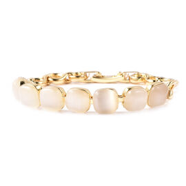 Simulated White Cats Eye Link Bracelet (Size 6.5) in Yellow Gold Tone