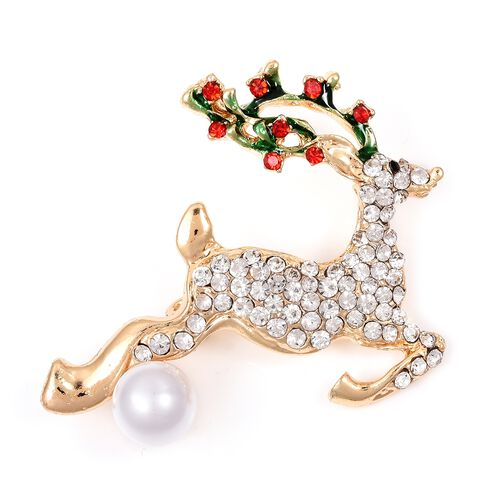 Christmas Special- Red and White Austrian Crystal Reindeer Brooch in Gold Tone