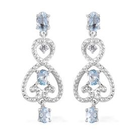 AA Santa Teresa Aquamarine and Natural Cambodian Zircon Dangling Earrings (with Push Back) in Platin