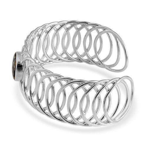 Goldenite (Rnd) Cuff Bangle (Size 7.5) in Platinum Overlay Sterling Silver 6.750 Ct.