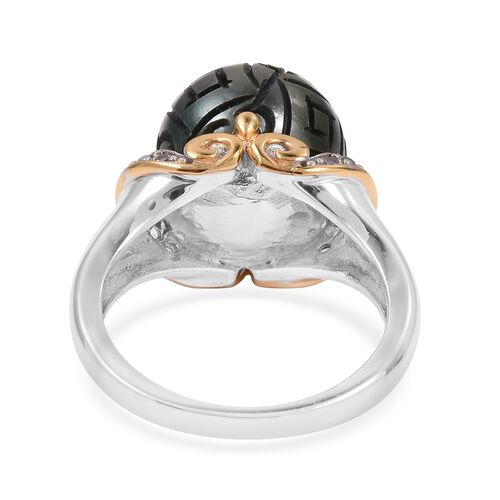 Tahitian Pearl (Rnd), Natural White Cambodian Zircon Ring in Rhodium and Gold Overlay Sterling Silver