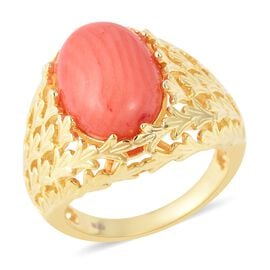 5 Ct Living Coral Solitaire Ring (Size L) in Gold Plated Sterling Silver 5.82 Grams