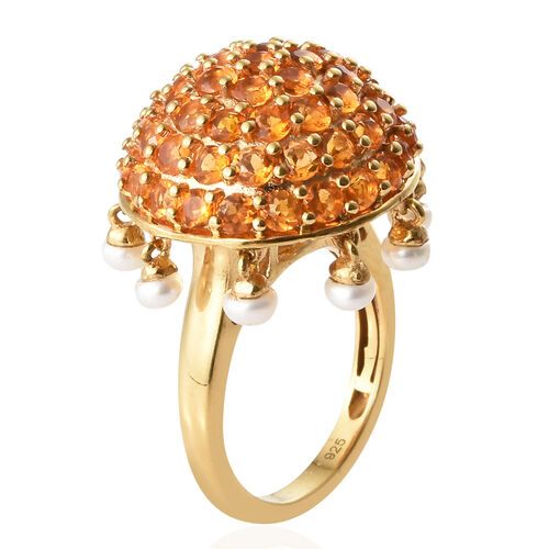 Jalisco Fire Opal (Rnd), Freshwater Pearl Cluster Ring in 14K Gold Overlay Sterling Silver 3.750  Ct.