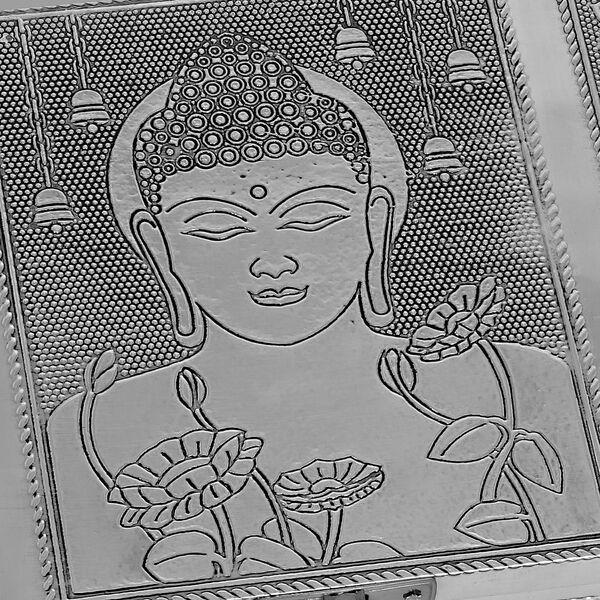 Set of 2 - Gautam Buddha and Tree of Life Embossed Storage Box (Size 17.7x12.7x5 Cm) with Velvet Lining
