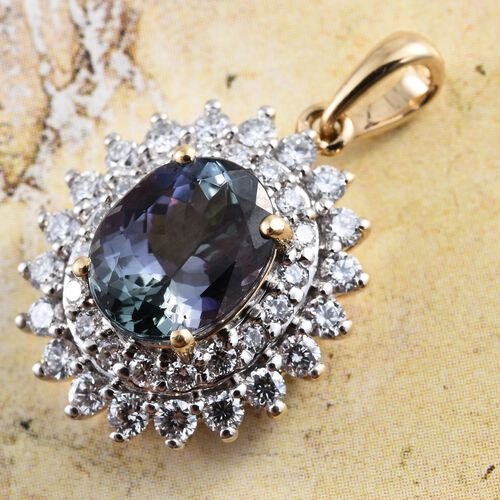 ILIANA 18K Yellow Gold Very Rare 3.25 Ct AAA Peacock Tanzanite Halo Pendant with Diamond SI G-H