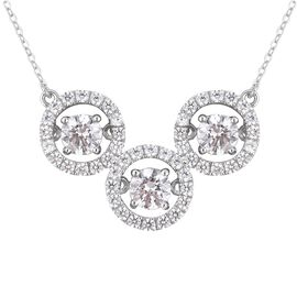 J Francis Made with Swarovski Zirconia Dancing Necklace in Rhodium Plated Sterling Silver 5.5 Grams