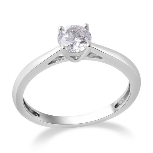 0.50 Ct Diamond Solitaire Ring in9K White Gold SGL Certified I3 GH