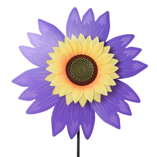 Set of 3 - Sunflower Windmill (Size 65x30cm) - Yellow, Red and Purple