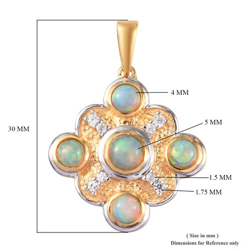 AA Ethiopian Welo Opal and Natural Cambodian Zircon Pendant  in Platinum and Yellow Gold Overlay Sterling Silver 1.50 Ct.