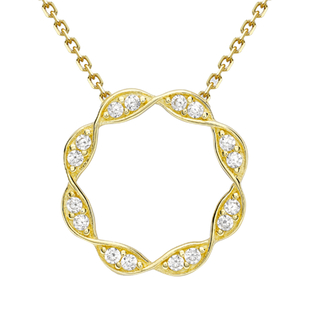 9K Yellow Gold Simulated Diamond Necklace (Size 16 with 2 inch Extender)