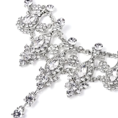 Simulated Diamond (Mrq) and White Austrian Crystal Bracelet/Ring (Size 6 with 3 inch Extender)
