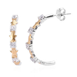 Natural Cambodian Zircon (Rnd) J-Hoop Star Earrings (with Push Back) in Yellow Gold and Platinum Ove