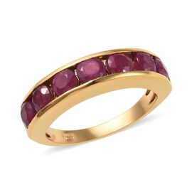 African Ruby (Rnd) Half Eternity Ring in 14K Gold Overlay Sterling Silver 2.500 Ct.