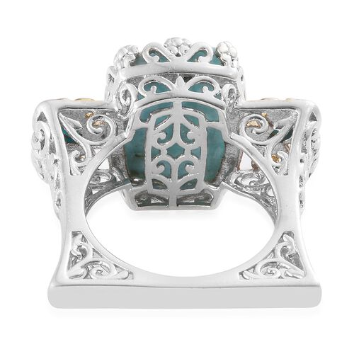 One Time Deal-Extremely Rare Larimar (Cush 16.25 Ct), Arizona Sleeping Beauty Turquoise Ring in Platinum and Yellow Gold Overlay Sterling Silver 16.750 Ct.