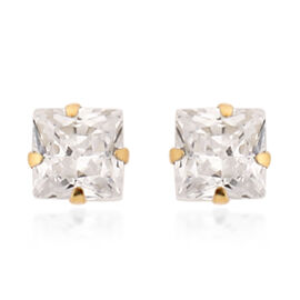 New York Close Out Deal - 9K Yellow Gold Cubic Zirconia Stud Earrings (with Push Back)