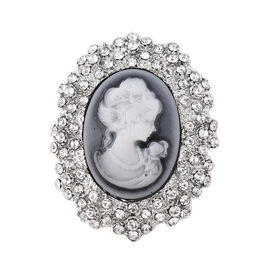 Cameo (Ovl 30x22mm), White Austrian Crystal Brooch in Silver Tone