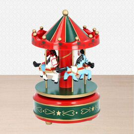 Stocking Filler- Handcrafted Merry-Go-Round Carousel with Wooden Horses Music Box (Size 11x18cm) - R