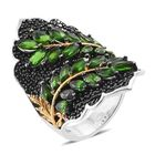 Designer Inspired Russian Diopside (Mrq), Boi Ploi Black Spinel Leaves Ring (Size O) in Platinum Overlay Ster