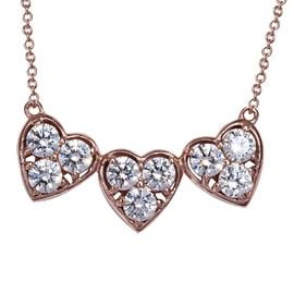 J Francis - Rose Gold Overlay Sterling Silver (Rnd) Tri Heart Necklace (Size 18) Made with SWAROVSKI
