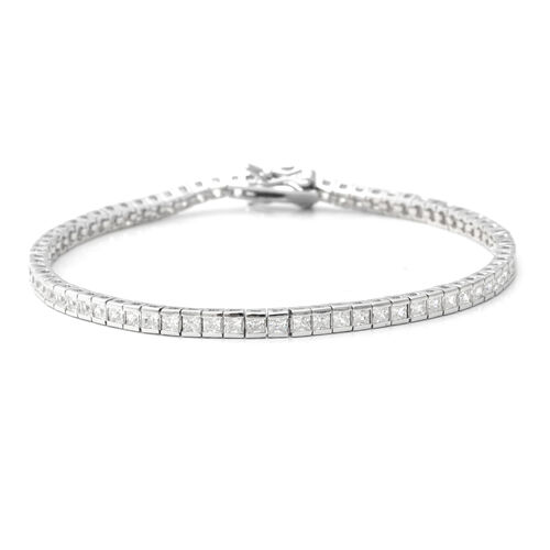 ELANZA Simulated Diamond (Sqr) Bracelet (Size 7.25) in Rhodium Overlay Sterling Silver, Silver wt 6.