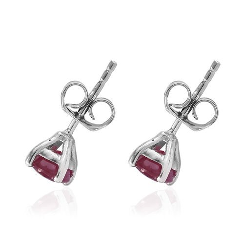 African Ruby (Rnd) Stud Earrings (with Push Back) in Platinum Overlay Sterling Silver 1.500 Ct.