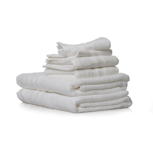 Set of 6 - 100% Cotton White Colour 2 Bath Towels (Size 140x75 Cm), 2 Hand Towels (Size 70x40 Cm) and 2 Face Towels (Size 33x33 Cm)
