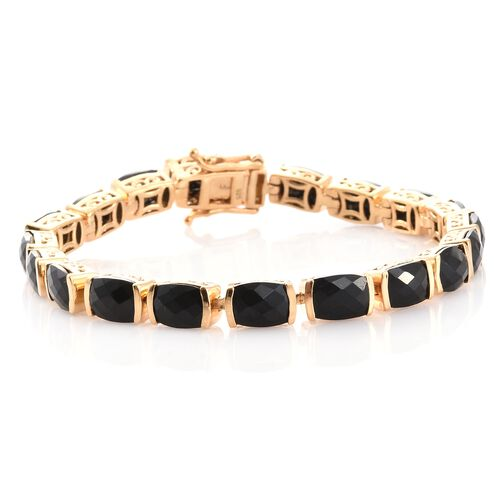 Black Tourmaline (Cush) Bracelet (Size 7.25) in 14K Gold Overlay Sterling Silver 30.750 Ct.