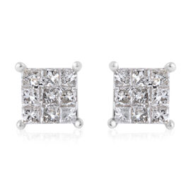 NY Close Out 9K White Gold Diamond (Princess) (I2-I3/G-H) Earrings (with Push Back) 0.50 Ct.