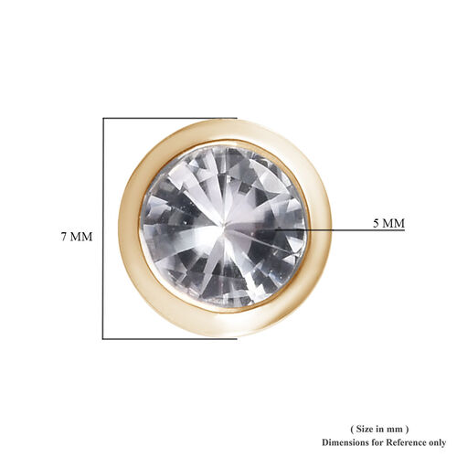 9K Yellow Gold Natural Cambodian Zircon Solitaire Stud Earrings (with Push Back) 1.50 Ct