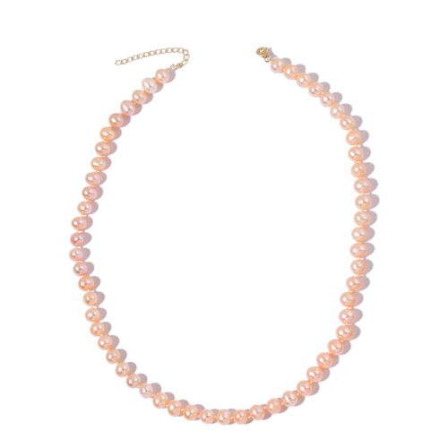 9K Yellow Gold Fresh Water Peach Pearl (7-8mm) Necklace (Size 18 with 2 inch Extender)