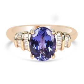 9K Yellow Gold AAA Tanzanite and Diamond Ring 2.17 Ct.