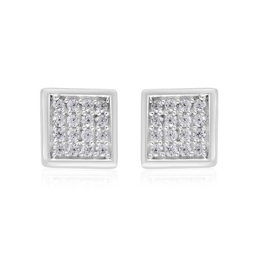 J Francis - Sterling Silver (Rnd) Cluster Earrings (with Push Back) Made with SWAROVSKI ZIRCONIA