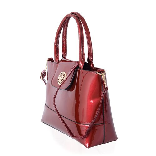 HONG KONG CLOSE OUT High Glossed Sassy Red Colour Large Tote Handbag with Adjustable Long Strap (Size 32x11x23 cm )