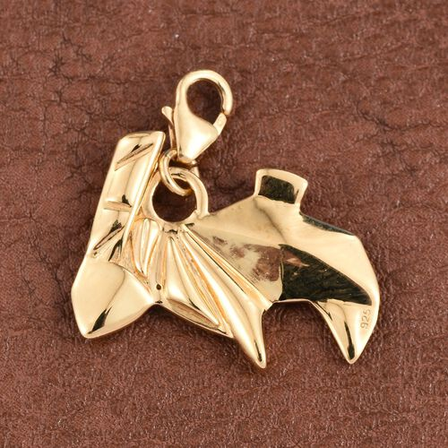 Origami Rabbit Silver Charm Pendant in Gold Overlay, Silver wt 4.23 Gms.
