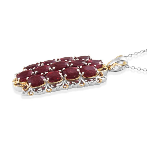 AAA African Ruby (Ovl) Pendant With Chain (Size 20) in Platinum Overlay Sterling Silver  10.000 Ct, Silver wt 6.00 Gms