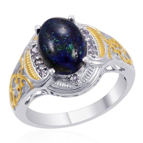 Designer Collection Azurite (Ovl 4.76 Ct), Tanzanite Ring in 14K YG Platinum Overlay Sterling Silver 5.090 Ct.