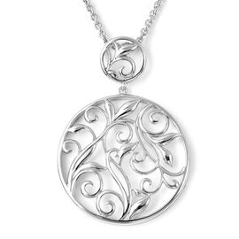 LucyQ Rhodium Overlay Sterling Silver Leaf Vine Design Circular Necklace (Size 30)