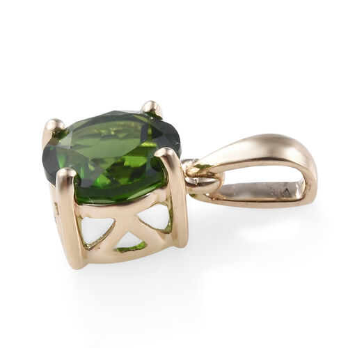 9K Yellow Gold AAA Russian Diopside (Rnd) Pendant 0.850 Ct.
