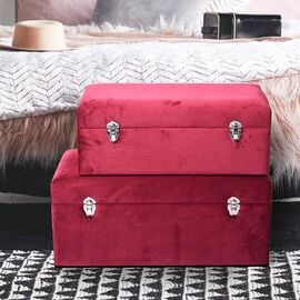 Set of 2 Dark Red Velvet Fabric Covered Wooden Trunks