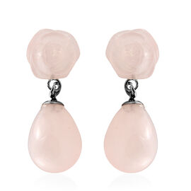 38 Ct Rose Quartz Drop Earrings in Stainless Steel