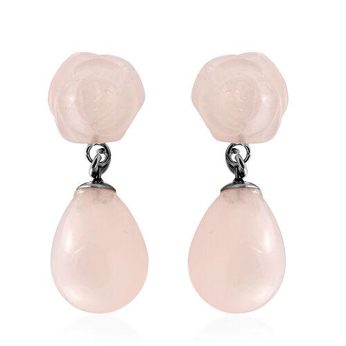 38 Ct Rose Quartz Drop Earrings in Stainless Steel