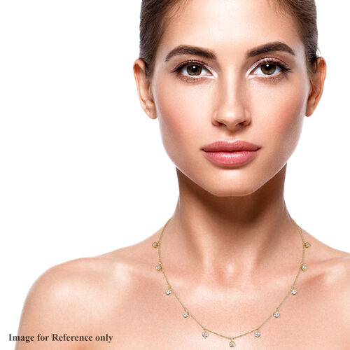 J Francis 14K Gold Overlay Sterling Silver Station Necklace (Size 18) made with SWAROVSKI ZIRCONIA 5.12 Ct