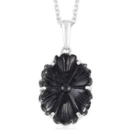 California Black Jade Floral Pendant with Chain (Size 18) in Platinum Overlay Sterling Silver 5.50 C