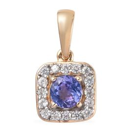 9K Yellow Gold AA Tanzanite (Rnd), Natural Cambodian Zircon Pendant  0.65 Ct.