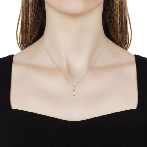 Diamond 14K Gold Overlay 14K Gold Overlay Sterling Silver Pendant With Chain  0.050  Ct.