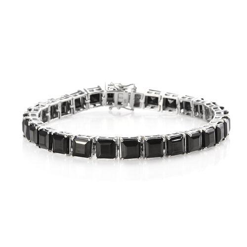 16 Ct Elite Shungite Tennis Bracelet in Platinum Plated Sterling Silver 15.50 Grams 8 Inch