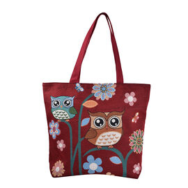 Tapestry Two Owls On Branch Large Tote Bag (H 34 cm x W 43cm) - Maroon